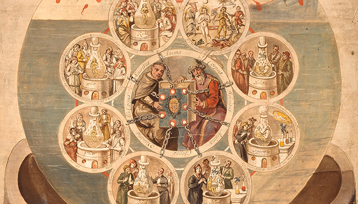 Alchemists Revealing Secrets from the Book of Seven Seals, detail from the Ripley Scroll, ca. 1700. The Getty Research Institute, 950053
