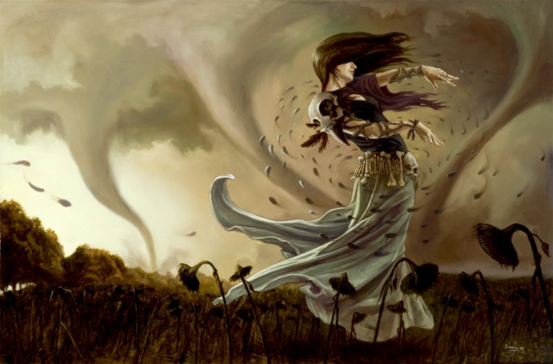 Image of a woman making a tornado